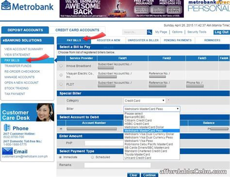 You will normally use the 'pay company' option, or something similar. How to Pay Credit Card Bills thru Metrobank Online Banking ...
