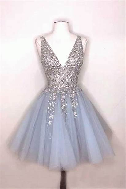 Short Deep Dresses Prom Sparkly Homecoming Very