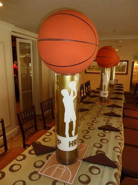 This great basketball lines wall decal gives a great look to a sport themed room! basketball themed centerpiece in 2020 | Basketball birthday parties, Basketball decorations ...