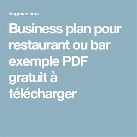 business plan pour restaurant ou bar exemple  gratuit