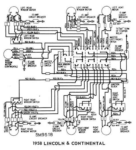 1959 Lincoln Wiring Diagram by Lincoln And Continental 1958 Windows Wiring Diagram All