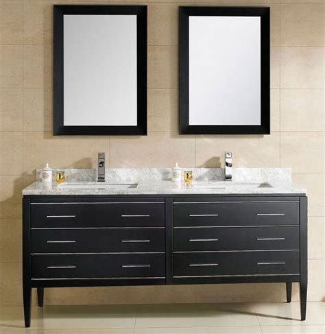 At Adoos 60 inch Modern Double Sink Bathroom Vanity Black
