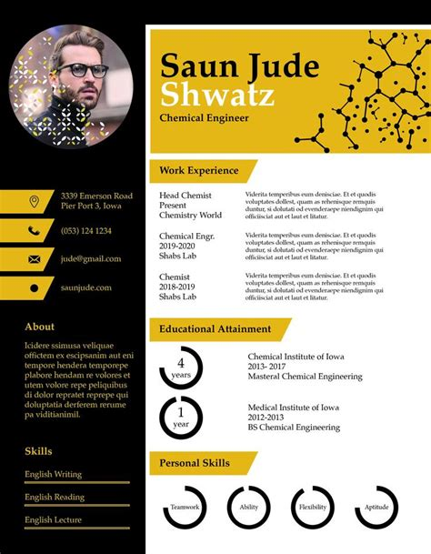 chemical engineer resume cv template  indesign