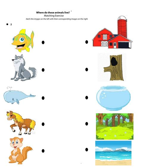 matching animals to their worksheets for crafts