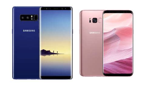 samsung galaxy s8 blau samsung galaxy s8 in pink und note 8 in blau verf 252 gbar connect