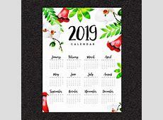 2019 acuarela floral calendario anual Descargar Vectores