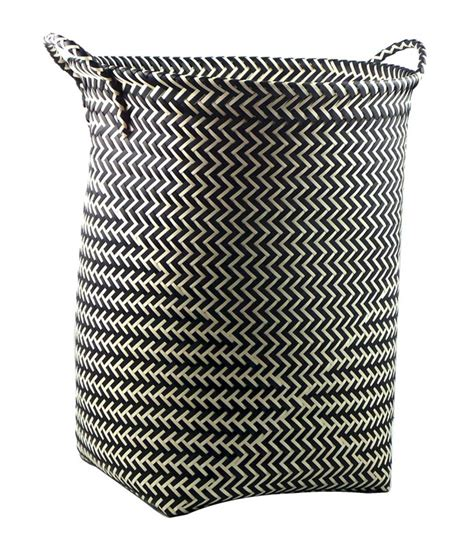 panier a linge grand panier 224 linge en polypropyl 232 ne noir et blanc wadiga