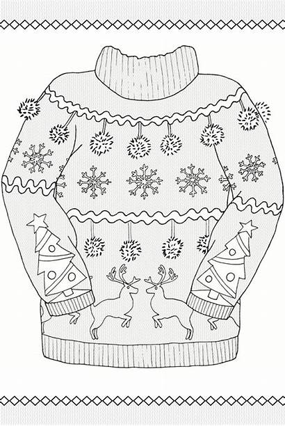Coloring Pages Ugly Sweater Christmas Dover Adult