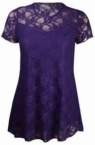 New Women's Plus Size Short Sleeve Floral Contrast Lace ...