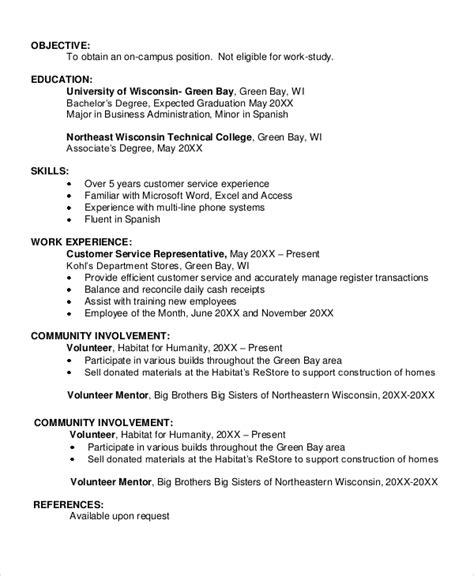 Exle Of Objectives In Resume For A Student by Sle Resume Objective 6 Documents In Pdf