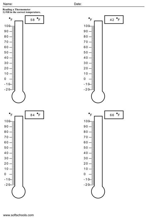 temperature worksheets for 2nd grade 1 school 1st