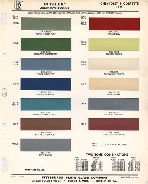 paint chart from ppg shows paint chip colors that were