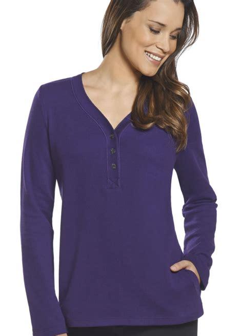 Jockey Womens Long Sleeve Henley Wpocket Ebay
