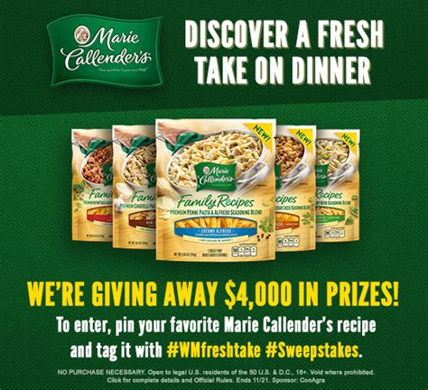 recipe daily sweepstakes calendar callenders discover a fresh take on dinner sweepstakes 500 prizes 11 21 16 1ppd18