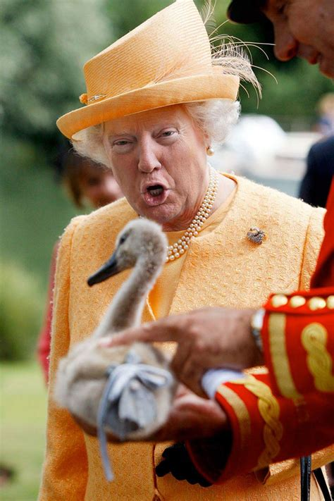 queen trump donald face funny onto photoshopped queens elizabeth photoshop photoshopping elisabeth trumps smile scary someone results panda mr