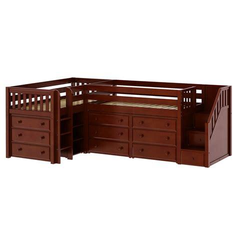 low loft bed with desk and dresser tandem corner low loft bed with dressers rosenberryrooms