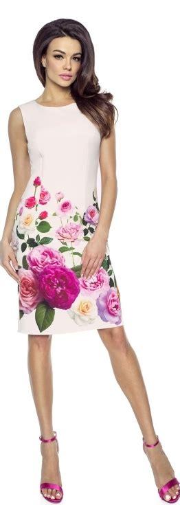 Kartes-moda kartes moda sukienka prosta sukienka w róże km221