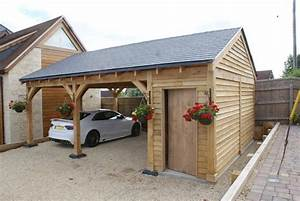 Oak Double Bay Garage with Side Store Decorating ideas