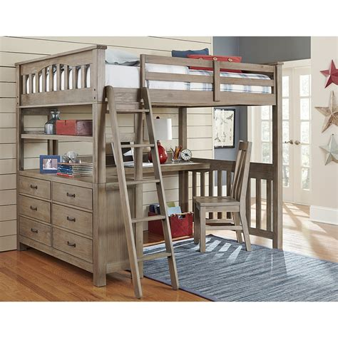 bunk bed with desk and ne kids highlands full loft bed with desk in driftwood