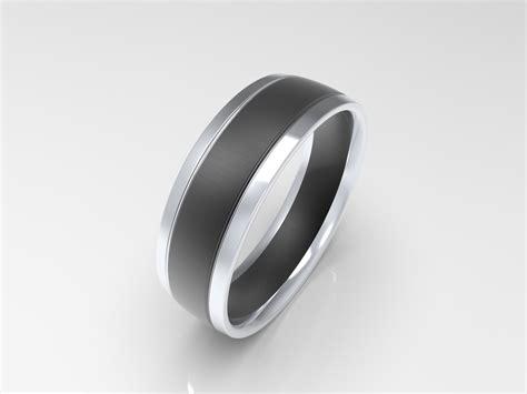 'xv' Brushed Black Sterling Silver Mens Wedding Band