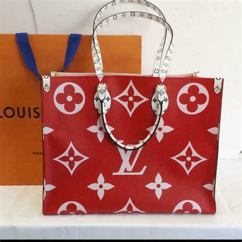 louis vuitton onthego tote giant red monogram bag       womens bags