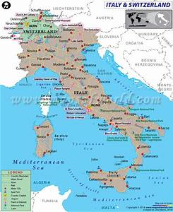 Map of Italy and Switzerland