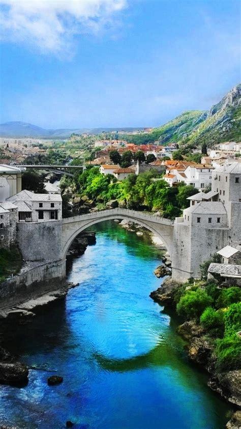 landscape wallpaper bosnia  herzegovina mostar  town