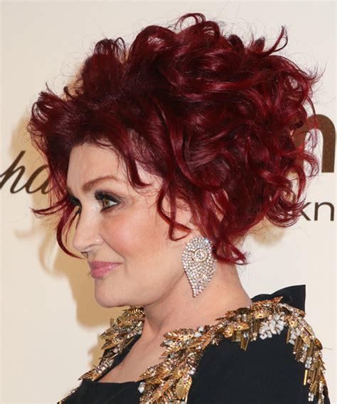 sharon osbourne formal medium curly updo hairstyle red