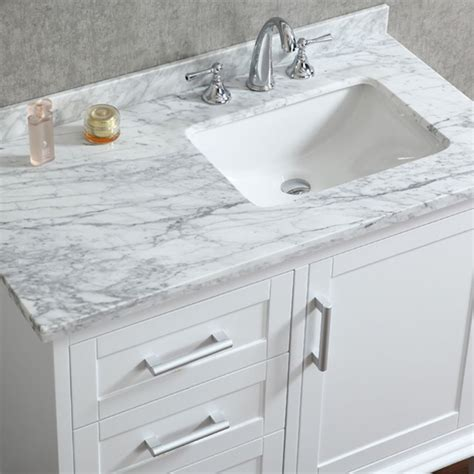 ace 42 inch single white bathroom vanity with mirror