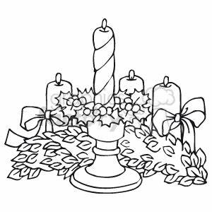Royalty-Free Black and White Christmas Garland and Candles ...