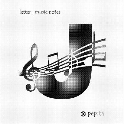 Letter Notes Needlepoint Zoom Initial Musician Alphabet