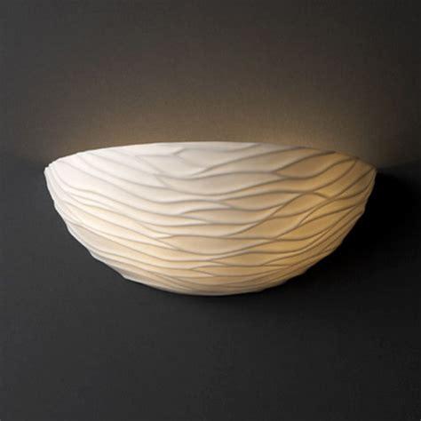 waves porcelain wall sconce justice design group half moon