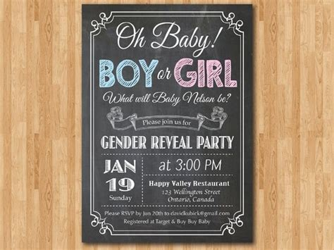 chalkboard gender reveal invitation baby boy  girl
