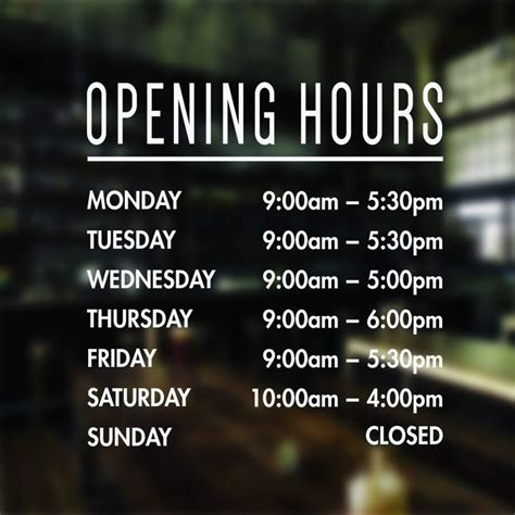 custom opening hours sign opening times sticker