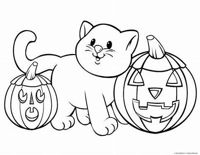 Coloring Halloween Pages Adults Kitty Adorable