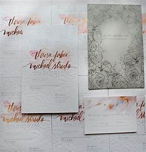 A peek into the studio rose gold foil and blind for Rose gold embossed wedding invitations