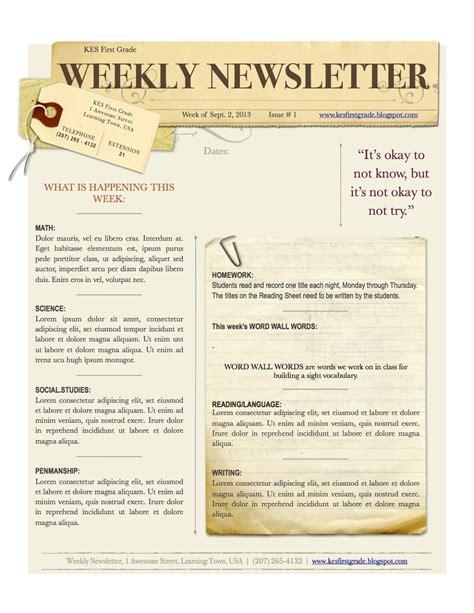 weekly newsletter template weekly newsletter jpg 1 236 215 1 600 pixels classroom ideas