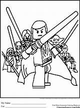 Wars Lego Coloring Jedi sketch template