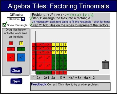 Free Interactive Algebra Tiles excellent algebra tiles michigan