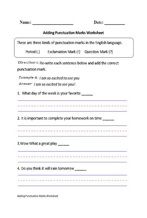 adding punctuation marks worksheet part 1 punctuation