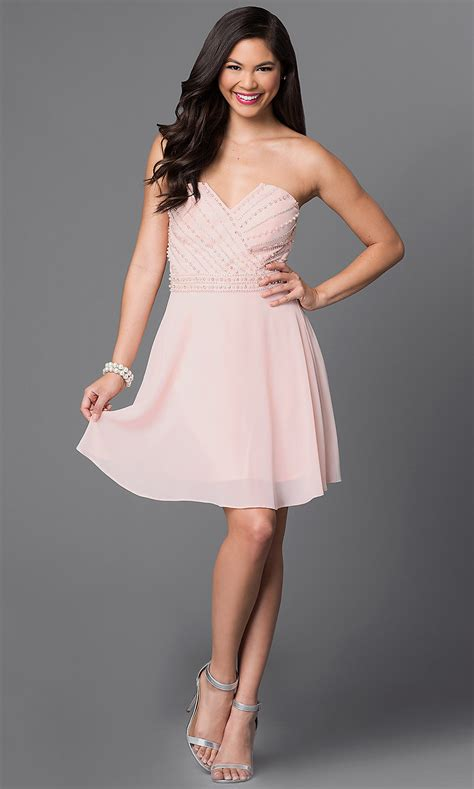 Light Pink Dress by Light Pink Beaded Bodice Homecoming Dress Promgirl