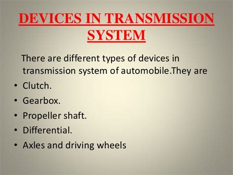 Transmission System In Buses