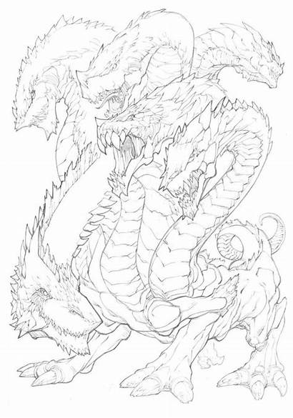 Hydra Deviantart Dragon Concept Mythical Drawing Drawings