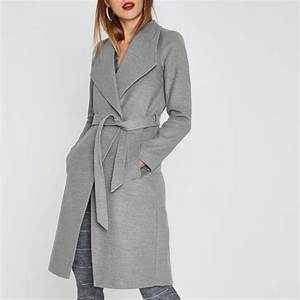 grey belted robe coat coats jackets sale women With robe en laine femme
