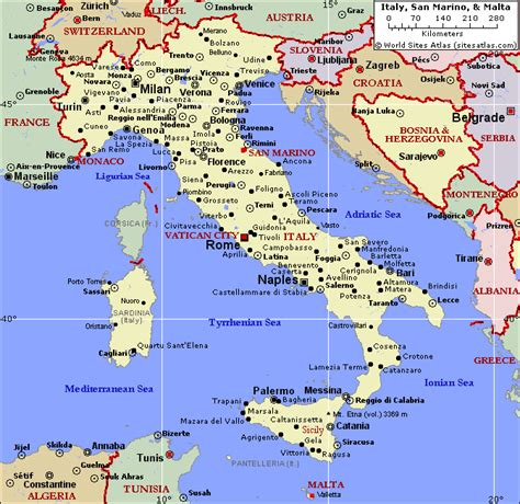 political map  italy  malta southern italy travels