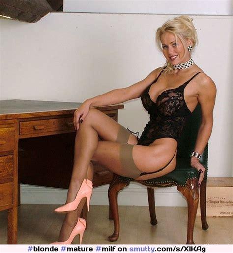 Blonde Mature Milf Muscular Lingerie Nonnude