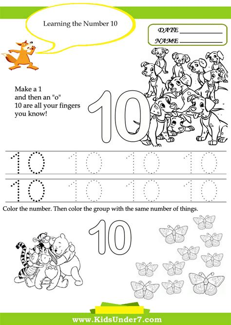 learning activities for toddlers printable worksheet 167 | free printable kindergarten learning activities for toddlers kids under 7 number worksheets the 10