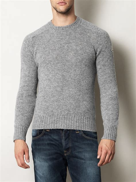 moncler sweater moncler shetland crewneck sweater in gray for grey