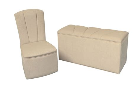 designer bedroom chair ottoman set in light beige chenille