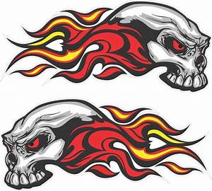 Pair Flaming skull Stickers Decals Vinyl Car Truck boat ...